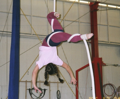 Aerial rope practice at Trapeze Arts . December 2006.